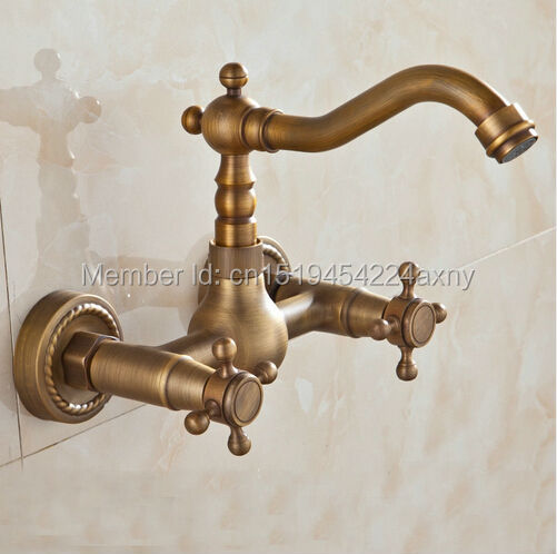 Free Shipping New Antique Brass Wall Mounted Kitchen Faucet Mixer Double Handle Swivel Spout Hot and Cold Water tap GI86 good quality wall mounted dual handle kitchen sink faucet antique brass hot and cold water swivel spout mixer tap