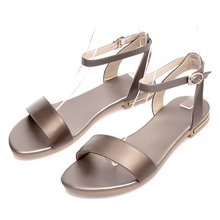Asumer Plus size 34-43 new high quality genuine leather sandals women shoes ladies solid color flat summer beach shoes
