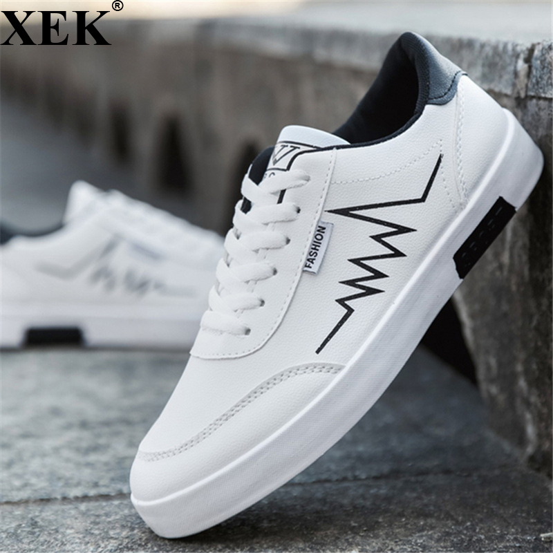 XEK 2018 New Fashion Spring Summer White Shoes Men Flat PU Leather Sneakers Male Board Shoes Casual Walking Shoes Men JH207