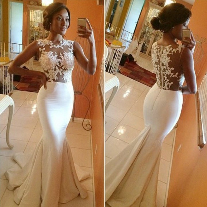 Custom Made New Cap Sleeves Satin Lace Mermaid Evening Dresses 2016 Sexy Illusion Back Formal Dresses Robe De Soiree Lang(China)