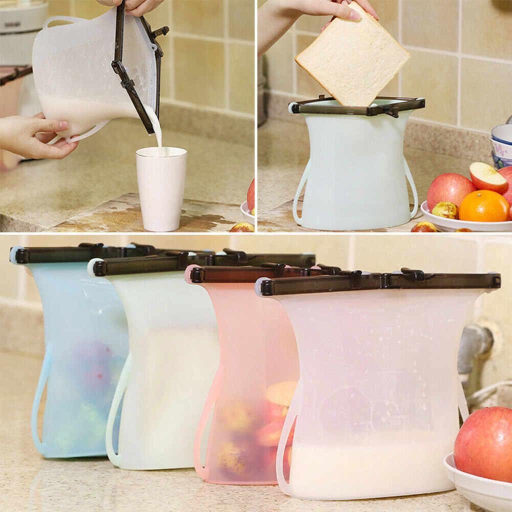 Reusable Seal Silicone Food Fresh Bag Vacuum Sealer Fruit Meat Milk Storage Bags Saran Wrap  Plastic Bags