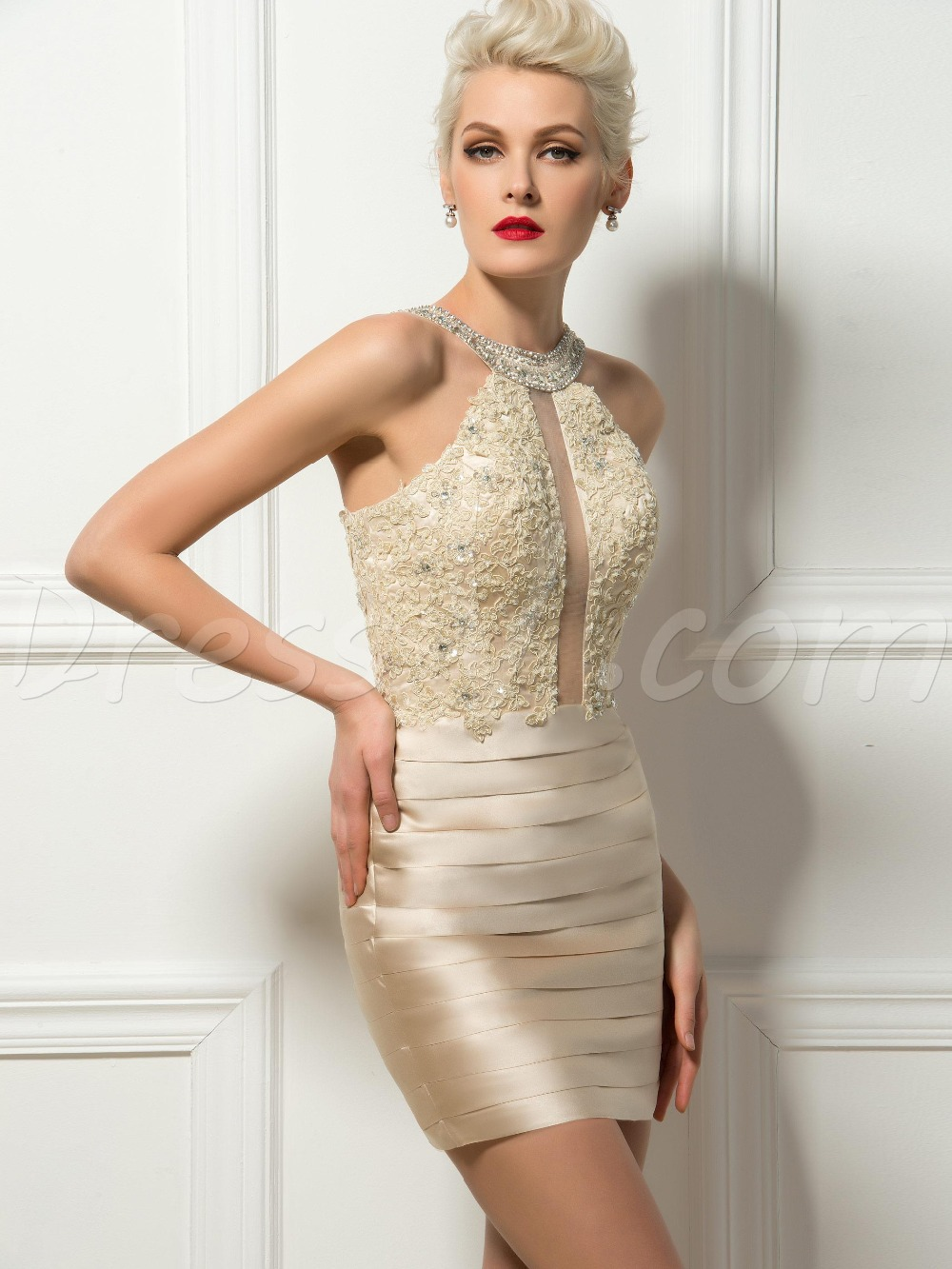 Sexy Bodycon Short Mini Champagne Cocktail Dresses Sheath Pleated Appliques  Beaded Halter Short Party Dress Homecoming Dresses-in Cocktail Dresses from  ... c4be4ff4fd5a