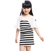 Kids Clothes Girls Clothes 2017 Summer Girl Dress Kid Fashion Lotus Sleeve Stripe Dress For Girls Size 3 - 8 Children Clothing