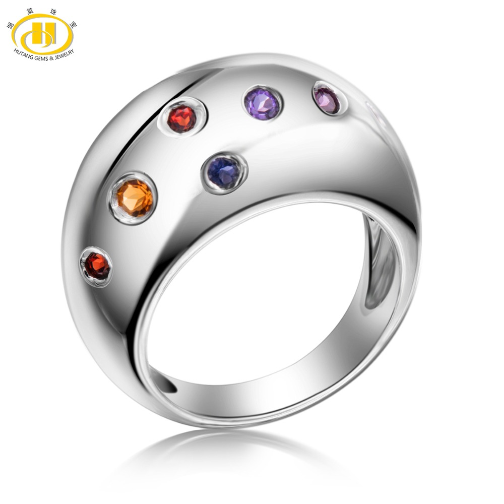 Hutang Multi-color Gemstones Rings Citrine Amethyst Garnet Solid 925 Sterling Silver Ring Fine Elegant Classic Jewelry for Gift