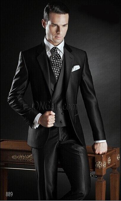 Revers cran Marié Smoking Garçons D'honneur Brillant Noir De Mariage/Dîner/Soirée Costumes Meilleur Homme Marié (Veste + Pantalon + gilet) B135