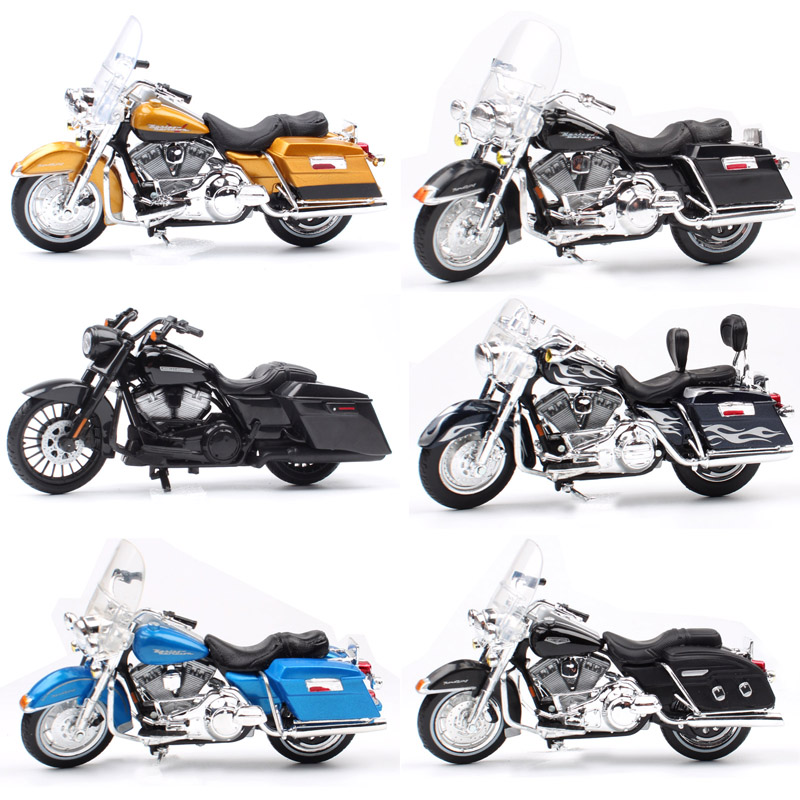 1/18 Scale Children Maisto Mini FLHR Road King Diecast Metal Model Motorcycle Cruiser Touring Vehicles Bike Toys For Kids