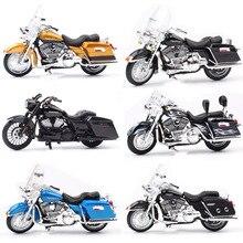 1/18 escala crianças maisto mini flhr estrada rei diecast modelo de metal motocicleta cruiser touring veículos bicicleta brinquedos para crianças