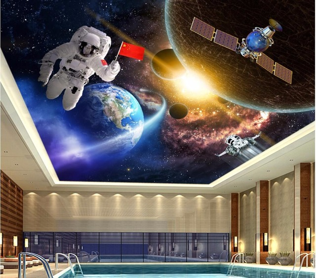 Custom photo 3d ceiling murals wallpaper home decor for Astronaut wall mural