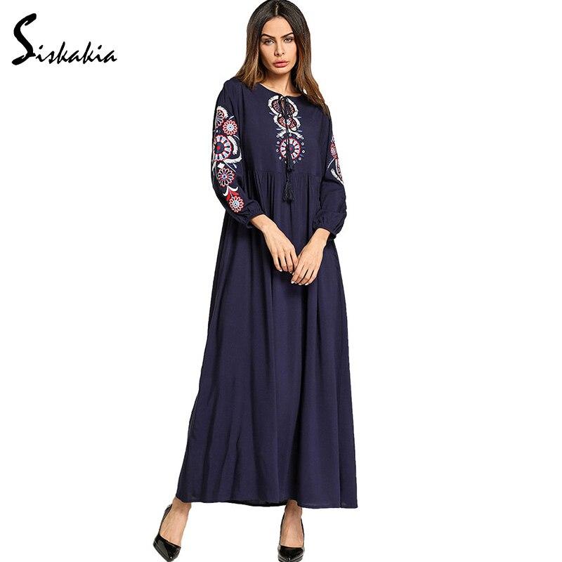 2973fcb0d2 Siskakia ethnic Vintage Embroidery maxi dress Spring Summer 2018 ladies  String tassel lacing elegant long dress swing draped