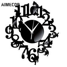 Mi Casa Espejo Gato Negro Reloj de Pared de Decoración Del Hogar Moderno Diseño Único Reloj Etiqueta de La Pared, julio de 14