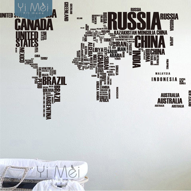 Online shop large world map countries letters names educational large world map countries letters names educational wallpapers decals mural art kids 116190cm wall sticker text home decor diy gumiabroncs Image collections