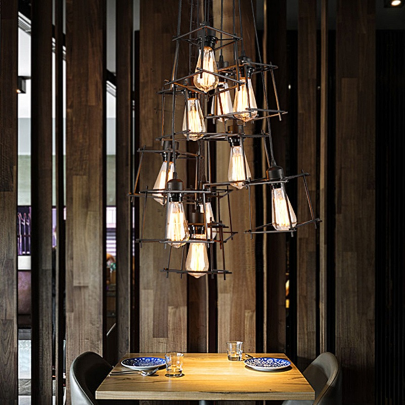 Led Chandelier Northern Europe Modern single-end Loft Industry Retro Personality Bar counter Creative Restaurant Chandelier simple post modernity iron restaurant bar cafe originality personality northern europe annular hall chandelier freeshipping