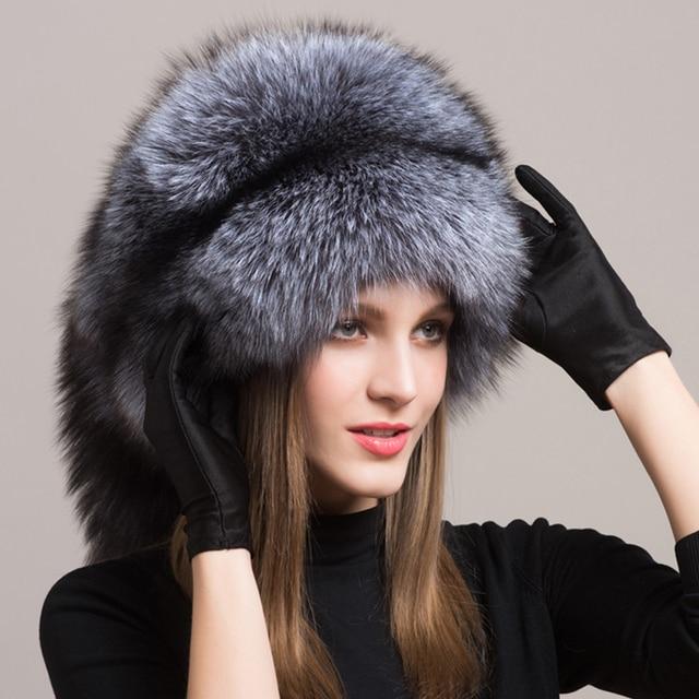 82035903695 FURCHARM Winter Hat Female Real Fox Fur Hat Russian Furry Warm Women  Mongolian Cap with Fox Fur Tassel