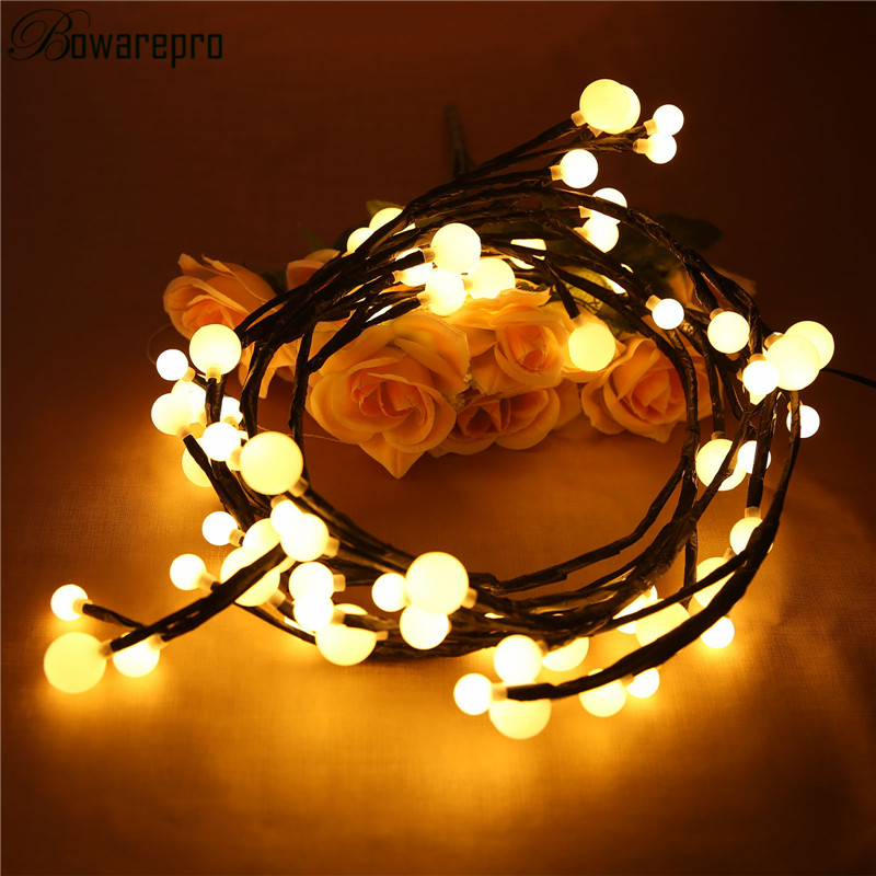 bowarepro Light LED Christmas Holiday Bar Curtain Light 72 LED Black Vine Light with Ball Pendants Lamp House Party lights 2.5M