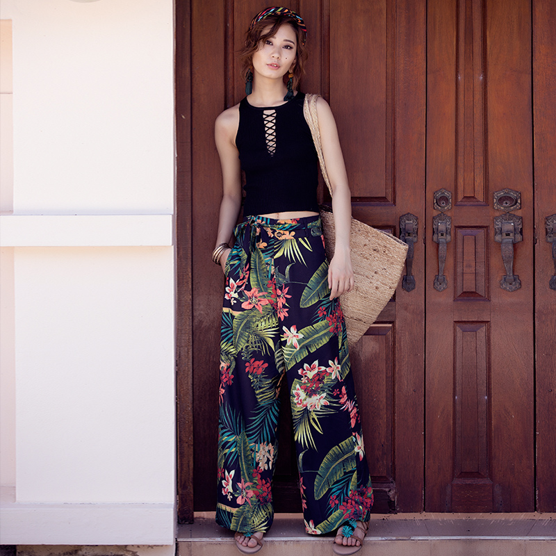 2018 Summer Holiday Bohemian Waist Belt Tropical Print Wide Leg Pants Slim All-match Slacks Cotton Female Pants With Pockets