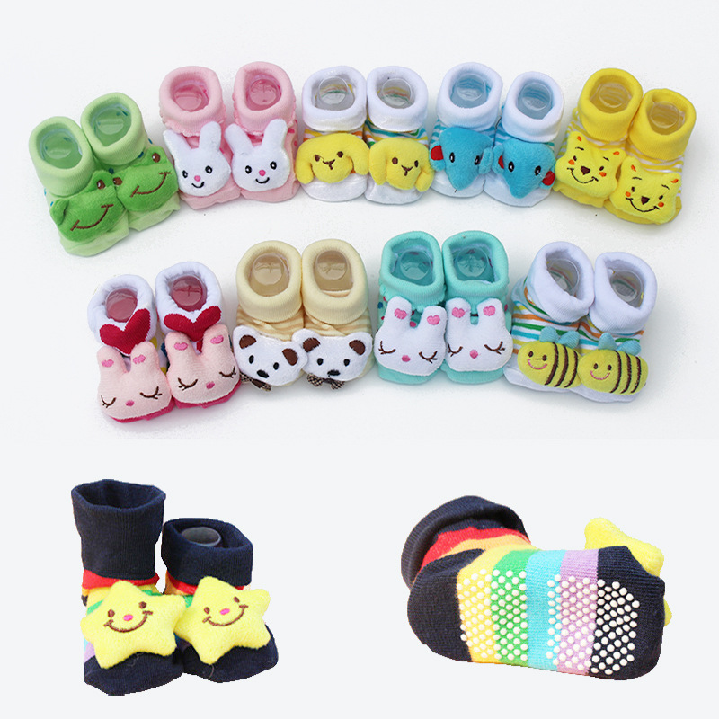 1 Pair Baby Cotton Socks For Newborns Gift Animal Lot Anti Slip With Rubber Soles For Ch ...