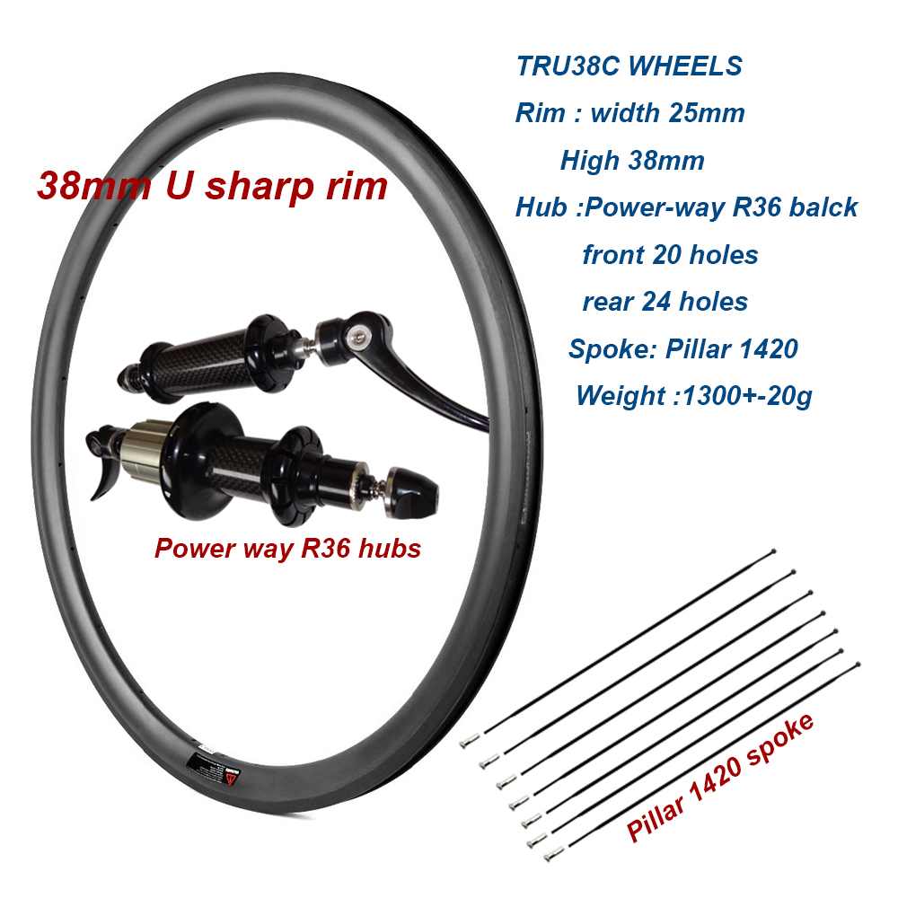Carbon bike 700c Carbon bicycle Wheels  38mm Clincher U sharp rims 25mm width Carbon Road Bike Wheelset with Powerway Hub carbon wheels 700c 25mm width 38mm clincher racing bicycle wheels road bike carbon wheelset clincher with powerway r51 hub