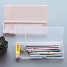 1Pcs Kawaii Simple transparent pencil case Plastic storage box Learning stationery Office&School Supplies stationery organizer все цены