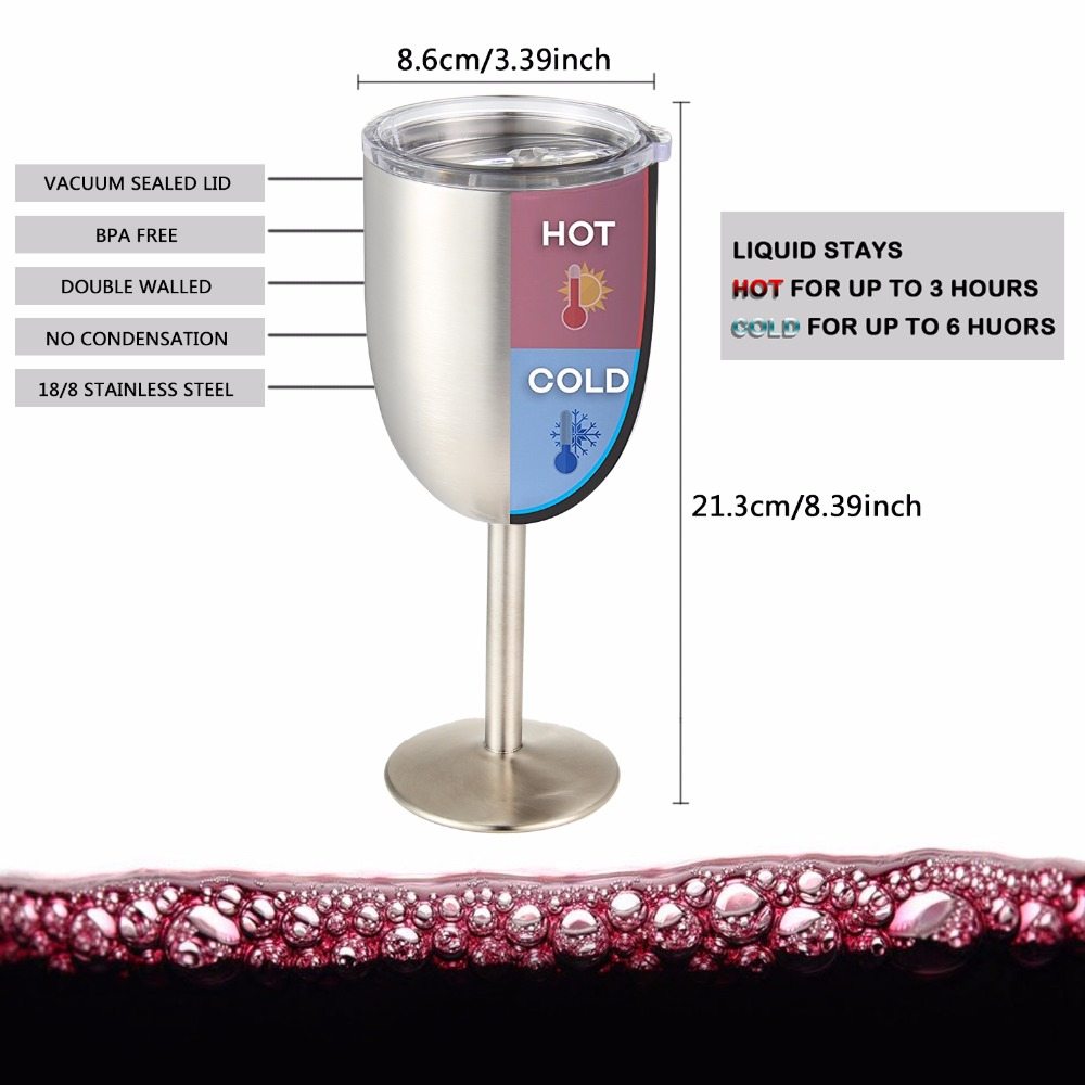 ce5ddb0c112 Stainless Steel Goblet Red Wine Glass Insulation Cup 10oz Double Wall  Vacuum Sealed with Leak Resistant Lid for Daily,Picnic-in Vacuum Flasks &  Thermoses ...