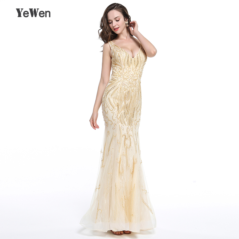 YeWen luxurious crystal v neck gold long mermaid evening dress 2018 prom dress beaded evening gowns