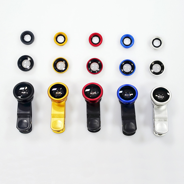 HOT SELL Universal Clip 3 in 1 Fish Eye Wide Angle Macro Fisheye Mobile Phone Lens For iPhone 6 5 5S Samsung HTC GN