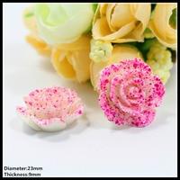 100pcs 23mm PINK Flowers Flat Back Rhinestone Reson Diamonds Button Wedding Embellishment Hair Bow DIY Hair