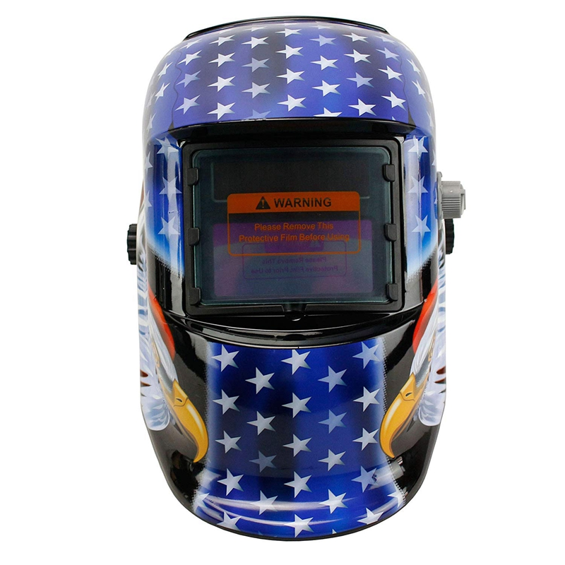 Solar Powered Schweiß Helm Auto Verdunkelung Haube mit Einstellbare Schatten Palette 4/9-13 für Mig Tig Arc Schweißer Maske (blau Adler)