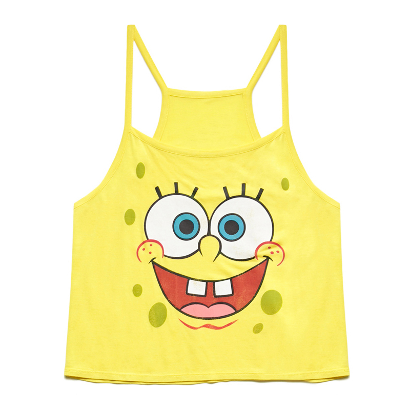 4f11bf31bb11ac Women Fashion Yellow Color Cotton Tank Top SpongeBob Pattern Printed  Sleeveless Round Collar Loose Sexy Short Style Top D641-in Camis from  Women s Clothing ...