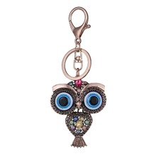 Evil Eye Owl Charm Keychain Colorful Crystal Beads Keyring Lobster Claw Clasp Gold Rhodium Alloy Car Lucky Gifts