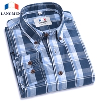 Langmeng 2016 High Quality Men Autumn Slim Fit Long Sleeve Plaid Casual Shirts Mens Fashion Cotton