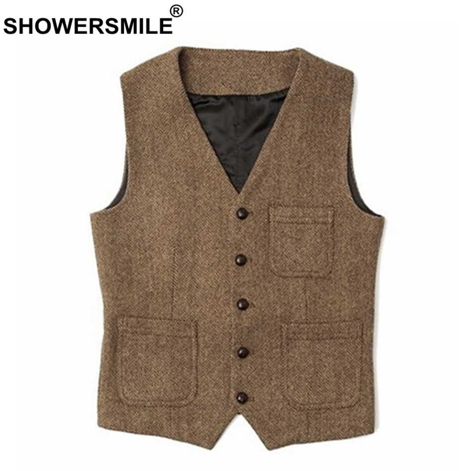 SHOWERSMILE Mens Waistcoat Vest Plus Size 4xl Wool Khaki Male Tweed Vintage Pockets Casual British Spring Sleeveless Jackets