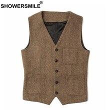 SHOWERSMILE Mens Waistcoat Vest Plus Size 4xl Wool Khaki Male Tweed Vintage Pockets Casual British Spring Sleeveless Jackets