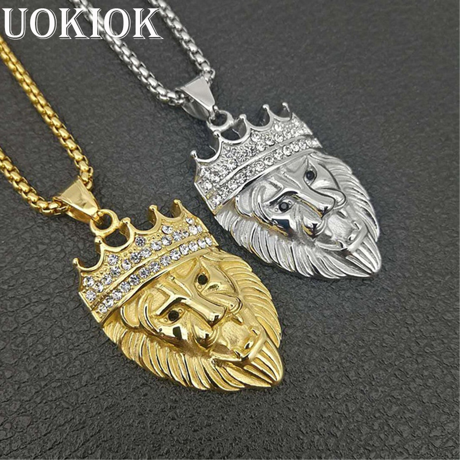 Hip Hop Iced Out Crown Lion Pendant Necklace Men Gold Color Stainless Steel Chain Rhinestones Necklaces Bling Jewelry