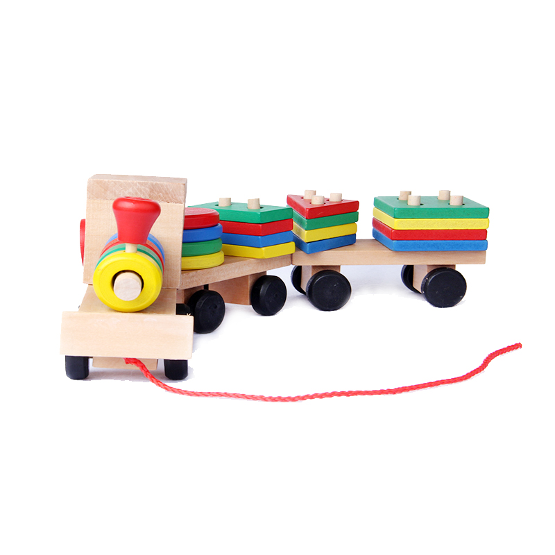 Montessori Toys Educational Wooden Toys For Children Early Learning Geometric Shapes Train Sets Three Tractor Carriage Games