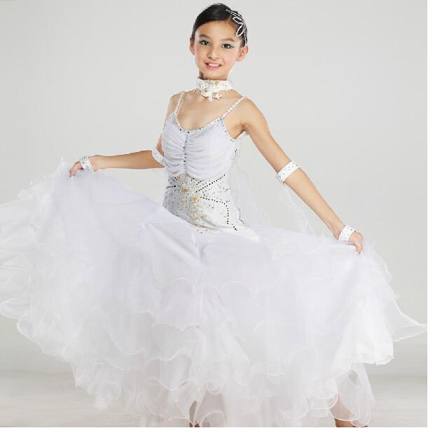 Elegant Top Quality New Kids Child Girls Pink White Ballroom Dance Competition Dress Ballroom Waltz Dresses