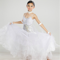 Elegant Top Quality New Kids Child Girls Pink White Ballroom Dance Competition Dress Ballroom Waltz Dresses