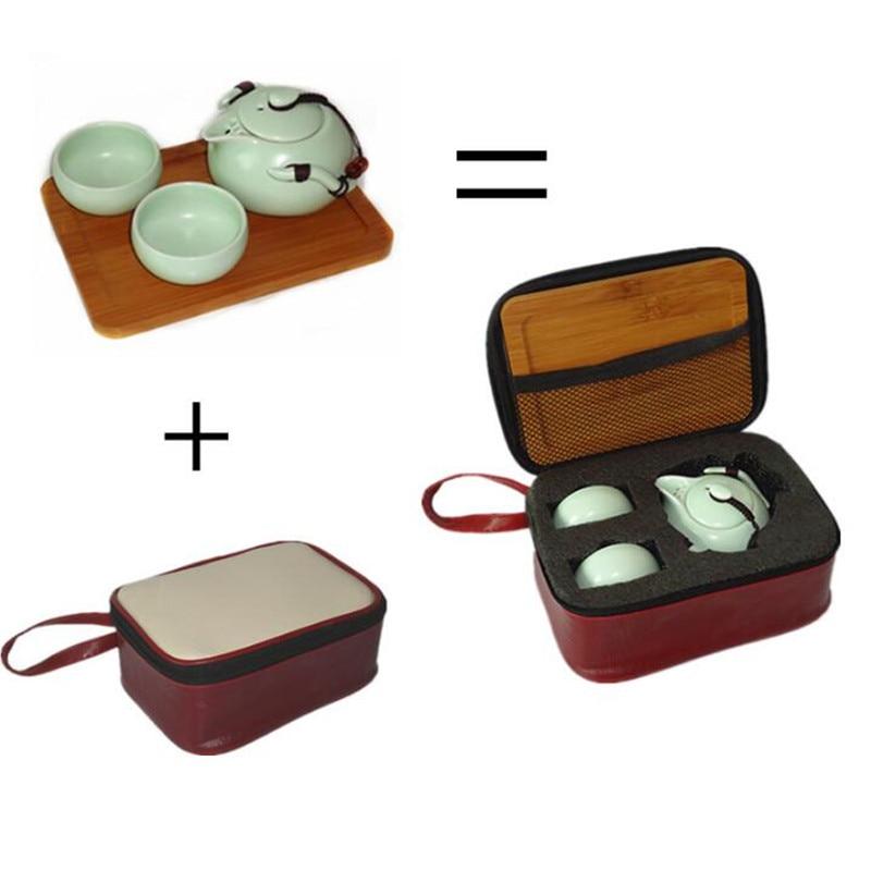 1 Pot 2/4 Cups Travel Bag Ding Kiln Tea Sets Portable Travel Tea Set,quick Cup,TeaPot Kettle,Gaiwan.kung Fu Tea Set