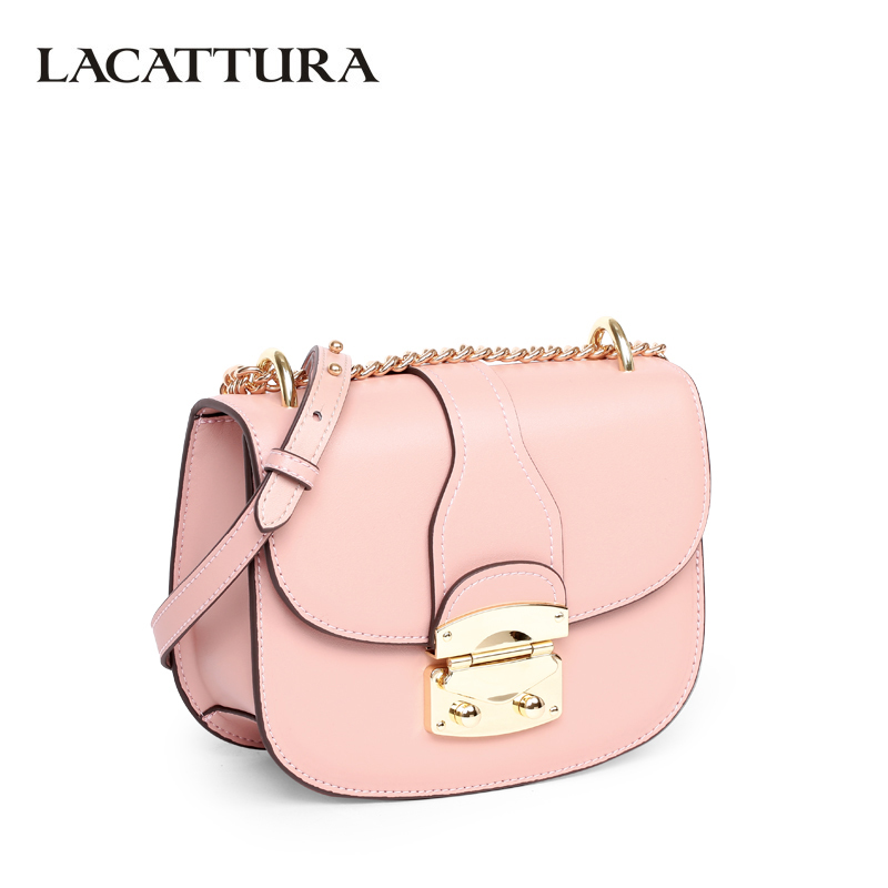 LACATTURA Small Saddle Bag Women Messenger Bags Leather Handbag Lady Clutch Chain Shoulder Bag Crossbody for Girls Candy Colors lacattura luxury handbag women designer leather chain shoulder bag fashion small messenger bags clutch crossbody for lady summer