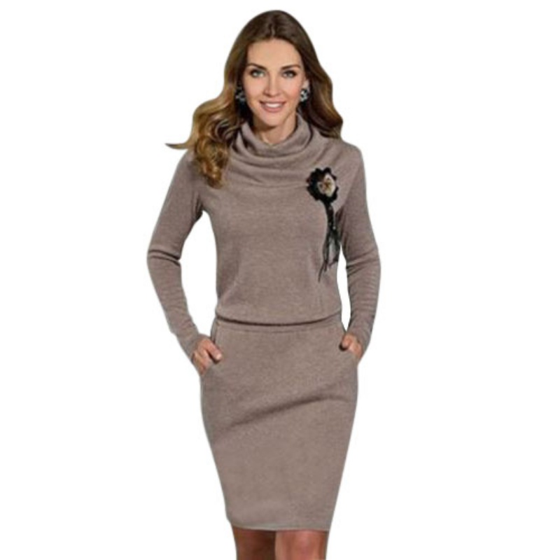 Fashion Women Lady Autumn Spring Casual Dress Long Sleeve Party Knitted Dress 2017 Solid Color For Female