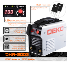 DEKO DKA-200G 200A 4.1KVA IP21S Inverter Arc Electric Welding Machine 220V MMA Welder for Welding Working and Electric Working