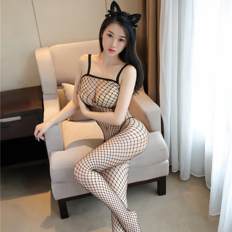 Buy SEELIEES Sexy Erotic Lingerie Hot Open Crotch Body Suit Women Transparent Bodystocking Sheer Fishnet Bodysuit Mesh Body Stocking