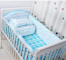 Fox 3D embroider Crib Baby Bedding Set Cotton Print 5Items Cot Quilt/Bed Around/Bed Skirt/Mattress Cover/blanket without filling