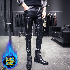Image 3 - New Arrival Motorcycle Biker Skinny Pant Men Gothic Punk Fashion PU Leather Pants Hip Hop Zippers Black Leather Trousers Male