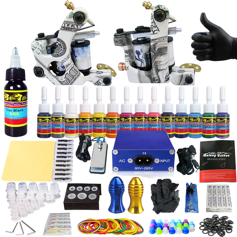 Stigma 2018 High Quality Tattoo Kit Professional Tattoo Machine Gun Tattoo Sets 2 Machine Inks Liner Shader Beginer Kit TK203-17