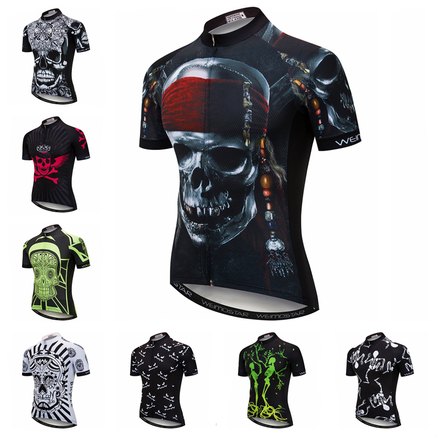 2019 Men Cycling Jersey Short Sleeve mtb Bicycle Clothing Youth Bike Jersey Ropa Ciclismo Maillot Shirt Pirate Skull Skeleton