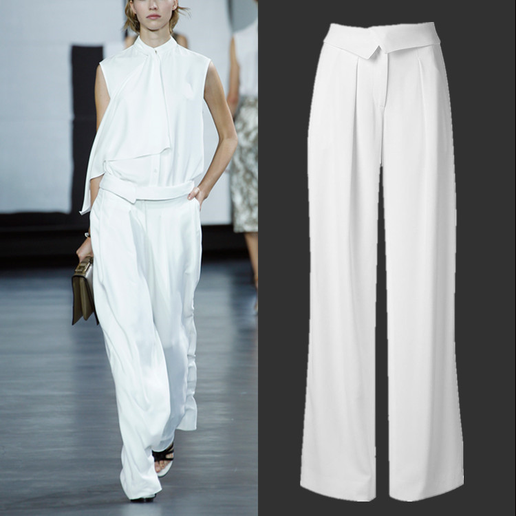 Longer Size Can fit 160cm -200cm height flare pants 2018 new Fashion brand England style Pleated was thin trousers WQ04