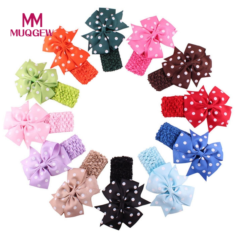 1PC Babys Headbands Girl's Headband Flower Head Wear Hair Bow Wave Bandeau Hair Accessories Drop Shipping 15pcs lot stretch elastic tutu headbands diy headband hair accessories 1 5 inch crochet headband free shipping 33colors in stock