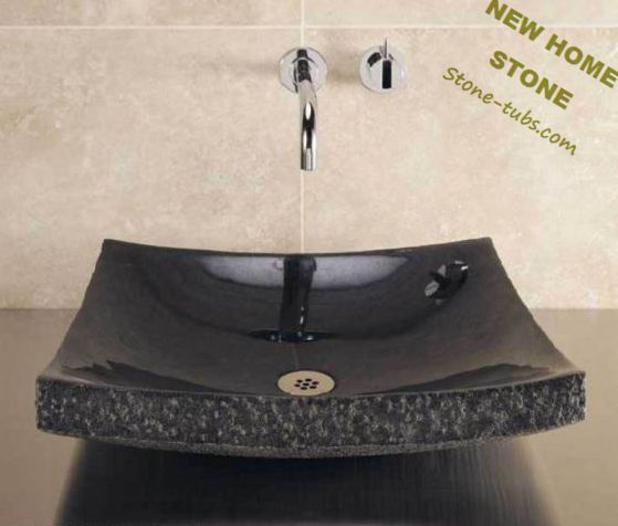 Swan Stone Sinks Black Granite Stone Cut Out From One Piece Stone Rock  Luxury Vanity Sink