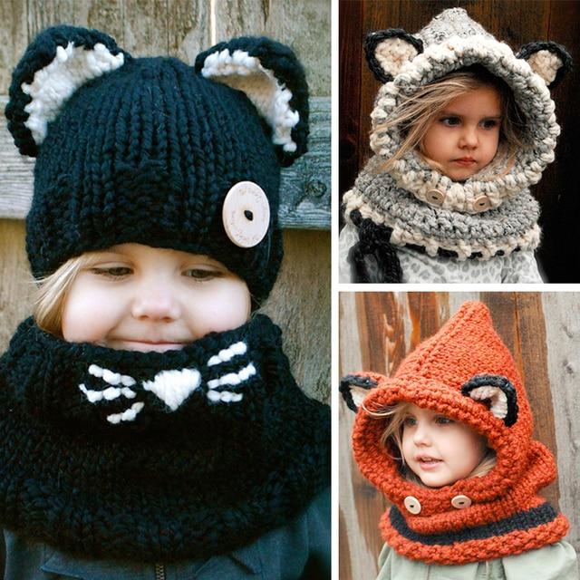Winter Baby Hat With Scarf Fox Cat Dog Shape Crochet Knitted Cap Kids Boys c775de474ff0