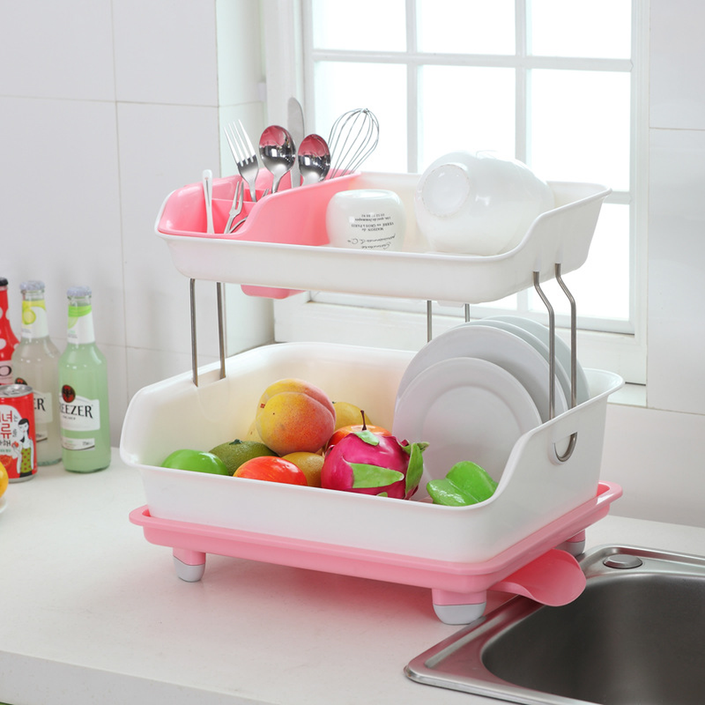 A1 Cupboard plastic kitchen drain dish rack with Drain tray tableware cutlery storage box put dish